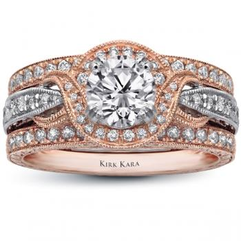 HAND ENGRAVED 18K ROSE AND WHITE GOLD ENGAGEMENT RING SET