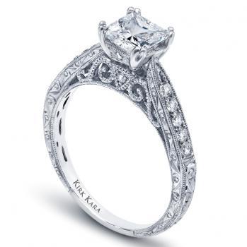Hand Engraved Platinum Or 18k Gold Engagement Ring