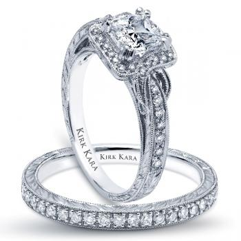 HAND ENGRAVED PLATINUM OR 18K GOLD ENGAGEMENT RING