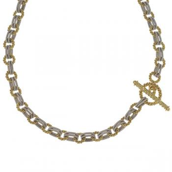 TWO TONE GOLD TOGGLE AND LINK NECKLACE