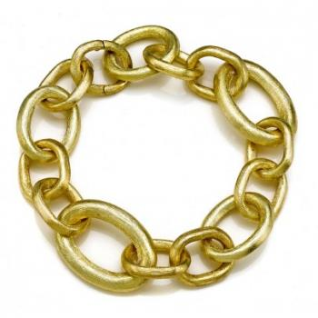 Hand Etched 18K Yellow Gold Mixed Link Bracelet