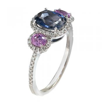 IOLITE AND PINK SAPPHIRE 14K WHITE GOLD RING