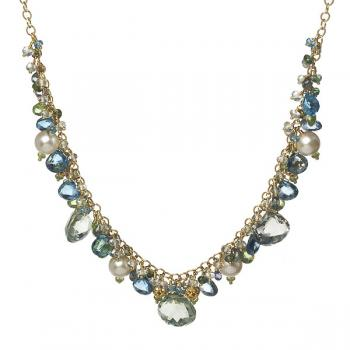 BLUE STONES AND PEARLS NECKLACE