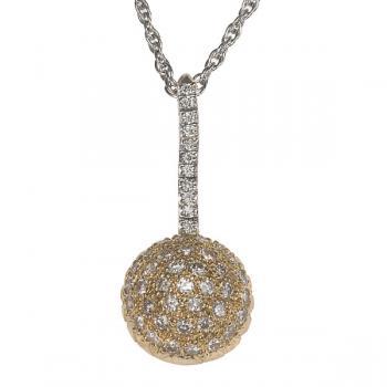 GOLD AND DIAMOND BALL DROP NECKLACE