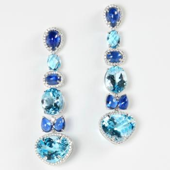 KYANITE AND BLUE TOPAZ DIAMOND EARRINGS