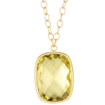 LEMON QUARTZ AND 18K YELLOW GOLD CUSHION PENDANT NECKLACE