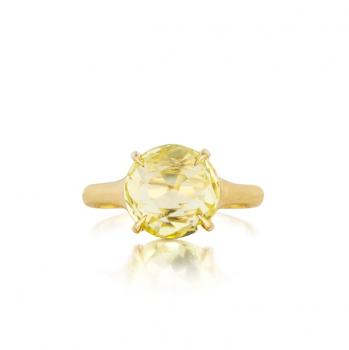 LEMON QUARTZ AND 18K YELLOW GOLD RING