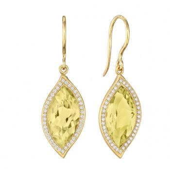 LEMON QUARTZ AND DIAMOND PAVE EARRINGS