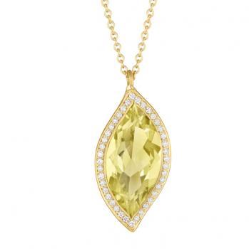 LEMON QUARTZ AND DIAMOND PAVE PENDANT NECKLACE