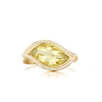 LEMON QUARTZ AND DIAMOND PAVE RING