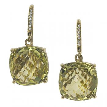 LIME QUARTZ 18K GOLD EARRINGS