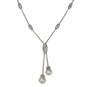 Beautiful, delicate Diamond and Pearl adjustable necklace set in 18K White Gold