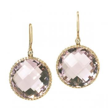 Lovely Amethyst and Diamond earrings set in Yellow Gold