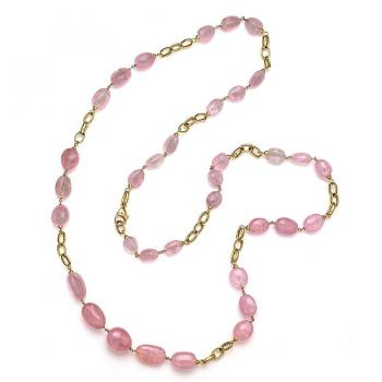 Luscious Pink Stones and Gold Links Necklace