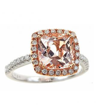 MORGANITE AND DIAMOND WHITE GOLD RING