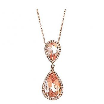 MORGANITE DIAMOND TEARDROP NECKLACE