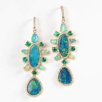 OPAL, EMERALD AND DIAMOND EARRINGS