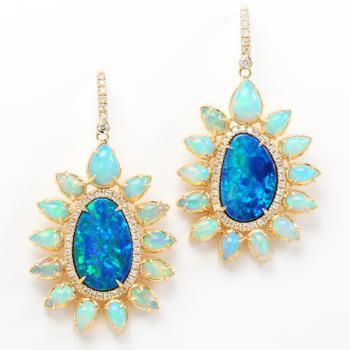 OPAL AND DIAMOND 18K GOLD EARRINGS