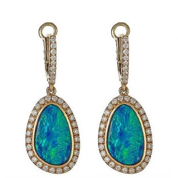 OPAL AND DIAMOND 18K GOLD EARRINGS
