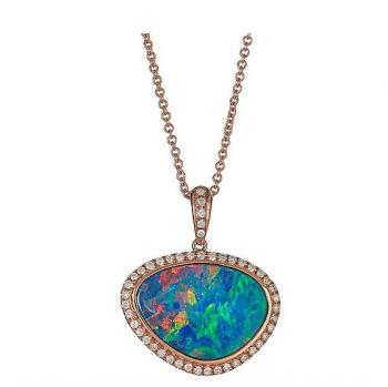 OPAL AND DIAMOND 18K GOLD NECKLACE