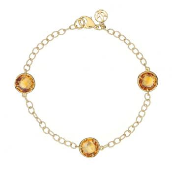 ORANGE CITRINE AND 18K GOLD BRACELET