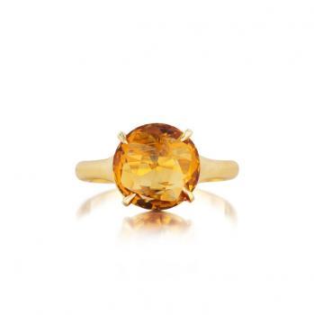 ORANGE CITRINE AND 18K YELLOW GOLD RING