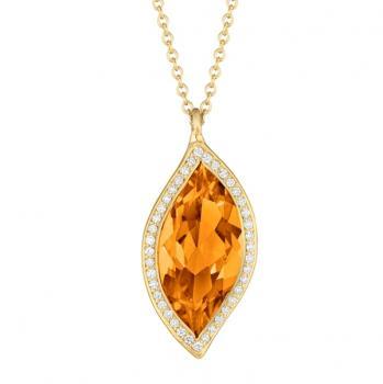 ORANGE CITRINE AND DIAMOND PAVE PENDANT NECKLACE