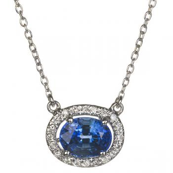 OVAL BLUE SAPPHIRE AND DIAMONDS PENDANT NECKLACE