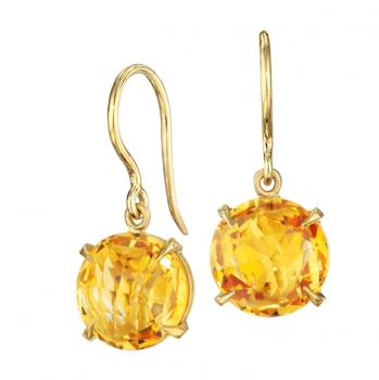Orange Citrine and 18K Yellow Gold Earrings