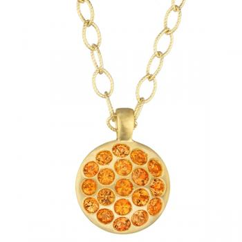 Orange Sapphire and 18K Yellow Gold Necklace