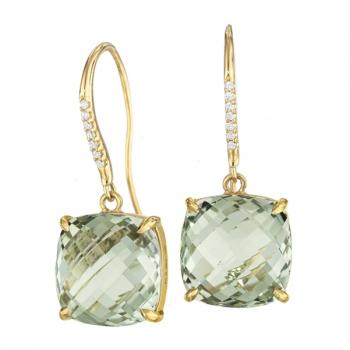 GREEN QUARTZ AND DIAMOND EARRINGS