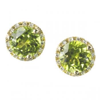 PERIDOT AND DIAMOND POST EARRINGS