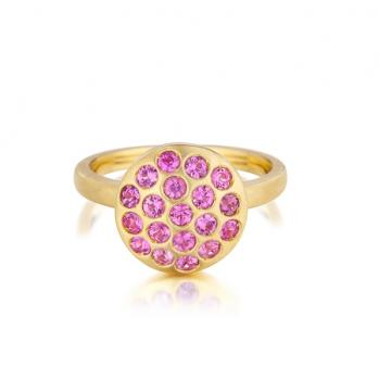 PINK SAPPHIRE AND 18K GOLD RING