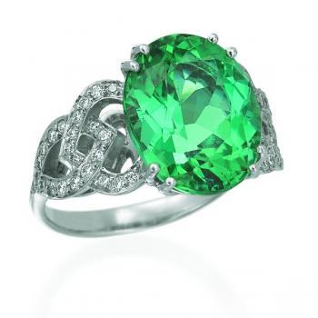 PLATINUM, DIAMOND & GREEN TOURMALINE RING