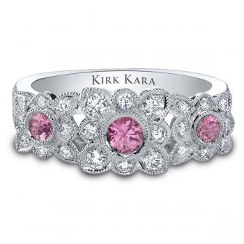 PLATINUM, DIAMOND AND PINK SAPPHIRE BAND