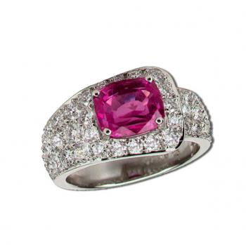 PLATINUM, PINK SAPPHIRE AND DIAMOND BUCKLE RING