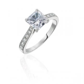 PLATINUM AND BEAD SET DIAMOND ENGAGEMENT RING