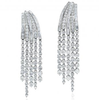 PLATINUM AND DIAMOND CASCADE EARRINGS