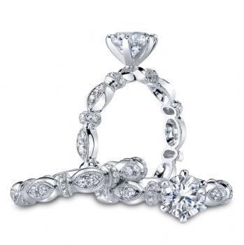 PLATINUM AND DIAMOND HANDCRAFTED ENGAGEMENT RING SET