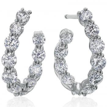 PLATINUM AND DIAMOND HOOP EARRINGS