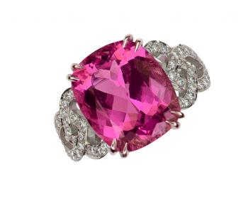 PLATINUM AND PINK TOURMALINE DIAMOND RING
