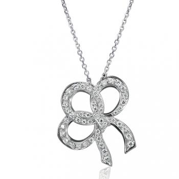 PLATINUM DIAMOND BOW PENDANT