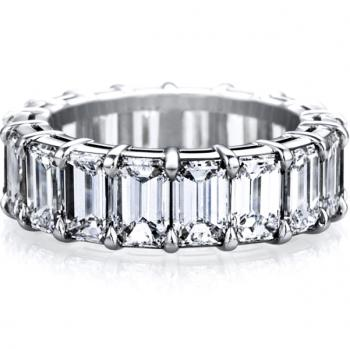 PLATINUM EMERALD CUT DIAMOND ETERNITY BAND