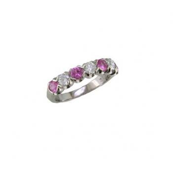 PLATINUM PINK SAPPHIRE AND DIAMOND RING