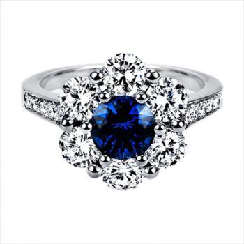 PLATINUM SAPPHIRE RING WITH DIAMOND HALO