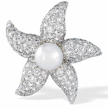 Pearl and Diamond Starfish Pin