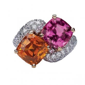Pink and Orange Sapphire Diamond Ring