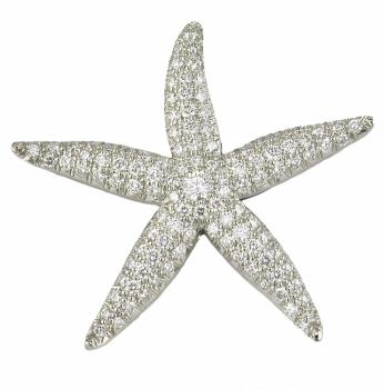 Platinum Diamond Pave Starfish Pin