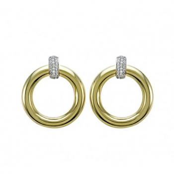 Polished 18K Gold and Diamond  Earrings