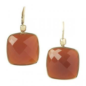 RED CARNELIAN AND 14K YELLOW GOLD EARRINGS
